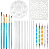 XDLink Kit Outil Peinture pour Mandala sur Galet Outils de Pointillage Pinceaux Palette Pochoir pour Peinture sur Pierre