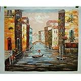 Venecia Reflexiones - Pintura al óleo pintada a mano sobre lienzo - Excelente calidad y la Artesanía
