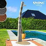 Swing & Harmonie Polyrattan Dusche mit LED-Bleuchtung und Lautsprecher Gartendusche Rattan Sauna Pool Außendusche (Grau)