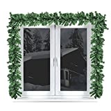 Multistore 2002 2 Stück Weihnachtsgirlande Tannengirlande 270cm Weihnachtsdekoration weihnachtliche Fensterdekoration Türdekoration Weihnachtsschmuck Tannengrün künstlich