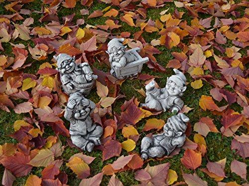 Sonderangebot: Stück 5 lustige kleine Gnome Trolle Wichtel aus Steinguss frostfest - 7
