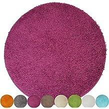 Alfombra de baño redonda de proheim (Diámetro 60 cm-1200 g/m²) - Alfombrilla de baño antideslizante y suave, Color:Lila