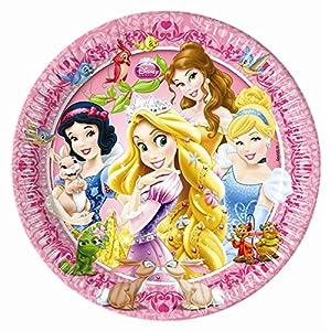 Unique Party Platos para fiestas de 20 cm con diseño de princesas y animales de Disney (8 unidades)