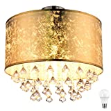 Kristall Decken Lampe Wohn Zimmer Beleuchtung Blattgold Leuchte Design im Set inkl. LED Leuchtmittel