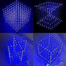 Arduino DIY sansido cuadrado 8x 8x 8LED de luz Cube 3d Electronic Soldering sarter Kit Board (LED azul)