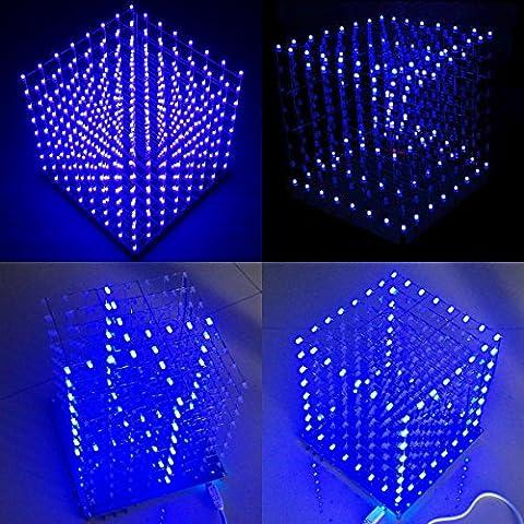Arduino DIY SanSiDo 8x8x8 LED Cube 3D Light Square Electronic Soldering Sarter Kit Board (Blue Led) - 8 Cube
