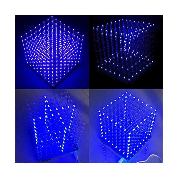 61uskotviaL. SS600  - Arduino DIY sansido 8x 8x 8LED Cube 3d Square Kit de electrónica de soldadura Sarter Junta de luz (LED azul)