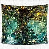 Thmyo Decor arazzo, stampa 3D fantasy Art House Wall Tapestry paesaggio arazzo da parete per soggiorno e camera da letto dormitorio 150*130cm/149,9x 130cm Large Banyan