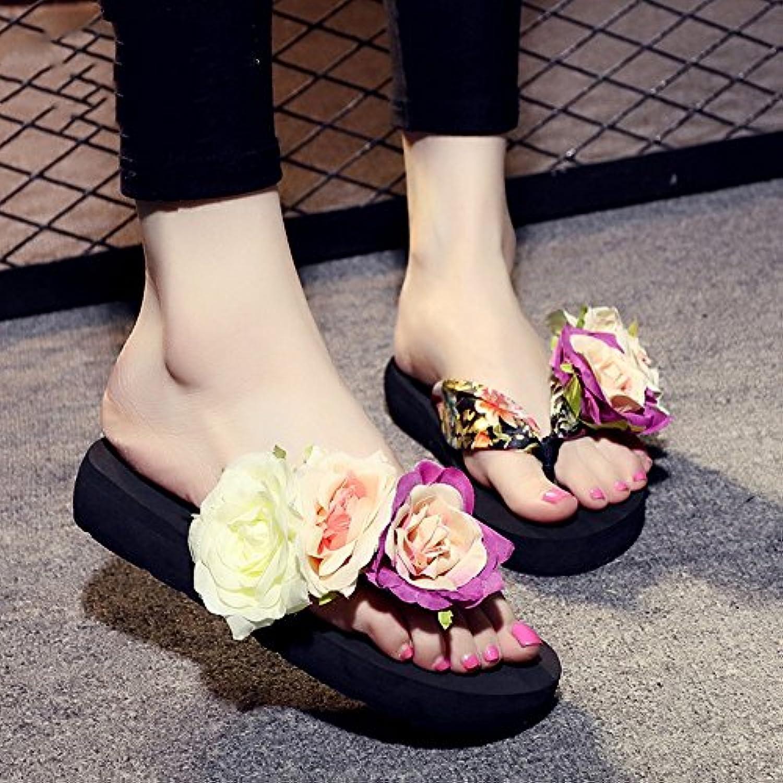 Chanclas MEIDUO sandalias 3.5cm Sandalias de las mujeres de los deslizadores de la manera del verano (amarillento...