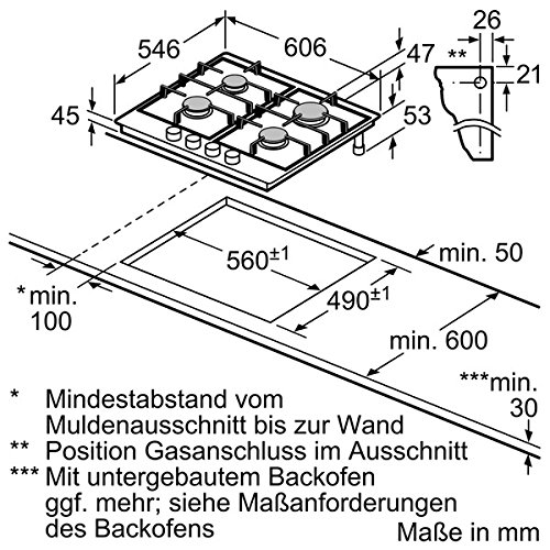 Neff TS 6666 N Kochfeld Gas / 60.6 cm / 4 stufenlos regelbare Gas-Kochstellen / schwarz - 2