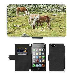PU LEDER LEATHER FLIP CASE COVER HÜLLE ETUI TASCHE SCHALE // M00110190 Pferde Pferde Alm Graze // Apple iPhone 4 4S 4G