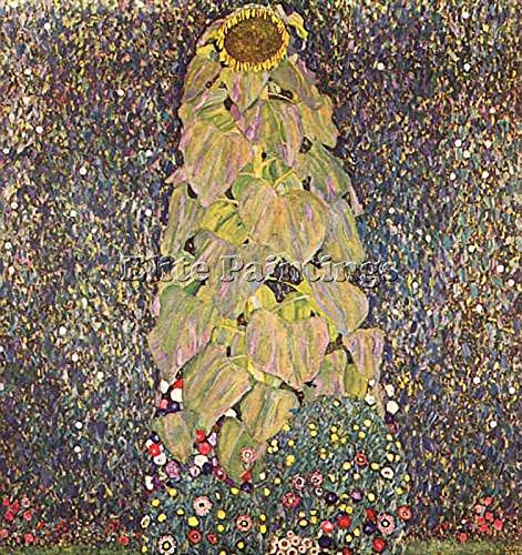 GUSTAV KLIMT SUNFLOWER THE ARTISTA QUADRO RIPRODUZIONE DIPINTO OLIO TELA A MANO 100x100cm qualita museo
