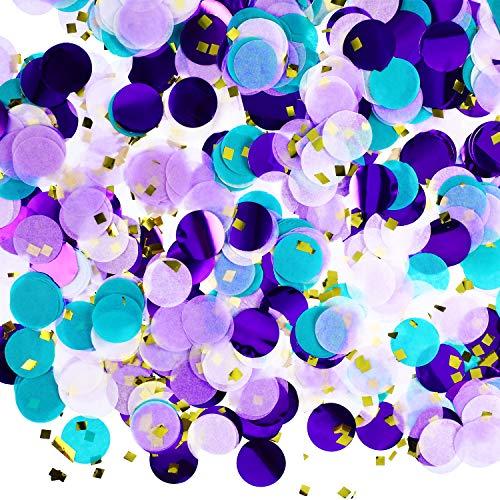 Runde Seidenpapier Tisch-Konfetti, Punkte, für Hochzeit, Geburtstag, Party, Dekoration, 454 ml Purple Teal Confetti