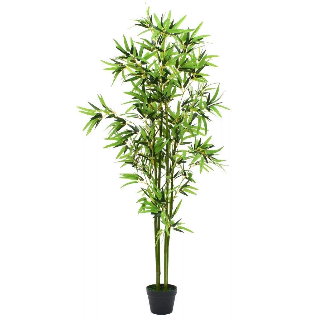 Festnight Planta De Bambú Artificial con Maceta,Cañas de Bambú Reales y Hojas Tejidas,Hogar Decoración,175cm Verde