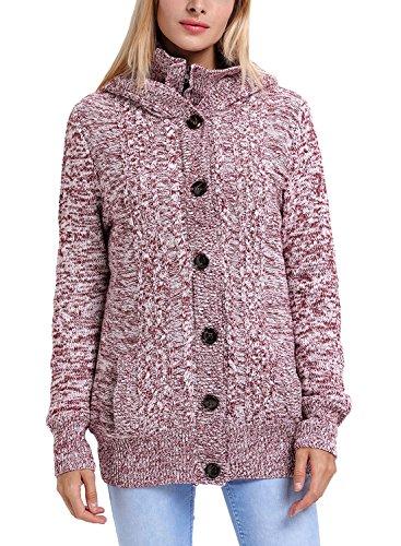 GOSOPIN Frauen Strickjacke Oversize V-Neck Sweatshirt Elastische Lässig Strickmantel Rot M