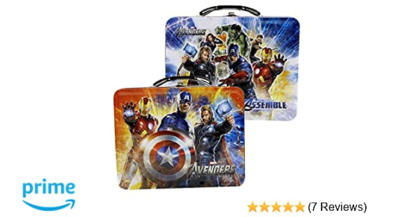 MARVEL/® AVENGERS Official Tin Lunchbox Metal Lunch Box Toy Storage Case for Kids Blue