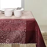 140x350 cm bordeaux rot dunkelrot weinrot burgund Tischdecke Tischtuch elegant praktisch pflegeleicht fleckgeschützt Fiori