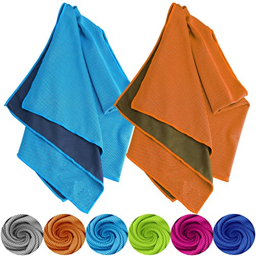 Tobfit Kühlendes Handtuch 2 Pack, 102 X 31 cm Sofortige Kühlung Relief in Heiß Umwelt, EIS Handtücher Bleib Kühlung für Sport und Fitness (01 Blau und Orange, 102 X 31 cm)