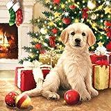 20 Servietten Weihnachten kleiner Hund Tiere Geschenke Weihnachtsbaum Christmas 33 x 33cm