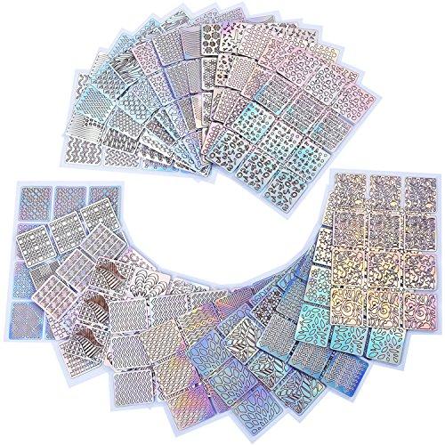 96 Disegni Unghie Vinili Set d'Unghie Stampino Adesivo Fogli per Nail Art Design, 24 Fogli, 288 Pezzi