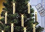 Top Race® 10 LED Christbaumkerzen als Lichterkette Weihnachtskerzen für Tannenbaum kabellos mit Batterie und Fernbedienung in weiß dimmbar Flackerlicht Innen Kerzenlichterkette ohne Kabel