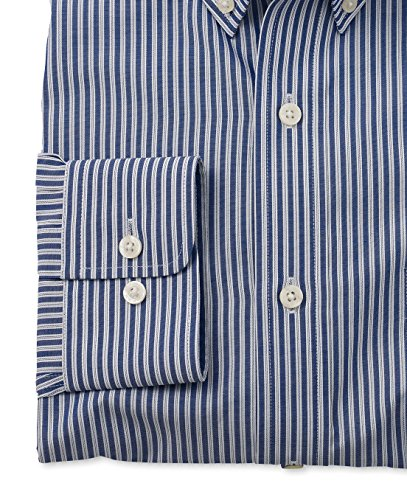 Savile Row Men's Navy White Stripe Smart-Casual Slim Fit Single Cuff Shirt Navy White