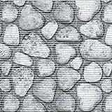 d-c-fix Badvorleger Bodenbelag Breite 65 cm Länge wählbar - Steine Grau - ECKIG 65 x 130 bzw. 130x65 cm für Küche , Bad , Garten ...