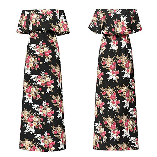 Fashion Sexy Womens Casual Maxi Long Dress Off Shoulder Flower Print Short Sleeve mop Dress Plus Size Clearance Party midi Wedding Casual Summer Maxi Knee Length Calf Long wear Black (L, Black)