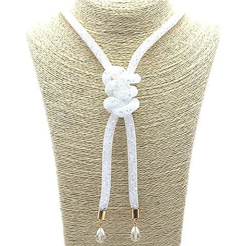 Malla collar de mirada en la mirada blanca de malla collar XXL con cristales de brillo y nodos al final de joyería de moda de joyería de tendencia - MyBeautyworld24 marca