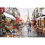 YEESAM ART New Paint by Numbers for Adults Children - Eiffel Tower Street View 16*20 inches Linen Canvas - DIY Digital Painting by Numbers Kits on Canvas