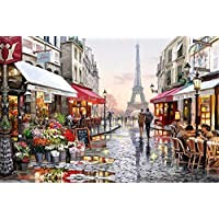 [ Wooden Framed or not ] [ New Release ] Diy Oil Painting by Numbers, Paint by Number Kits - Eiffel Tower Street View 16*20 inches Linen Canvas - Digital Oil Painting Canvas Wall Art Artwork Landscape Paintings for Home Living Room Office White Christmas New Year Valentine Decor Decorations Gifts - Diy Paint by Numbers Diy Canvas Kit for Adults Advanced Children Seniors Junior - New Arrival
