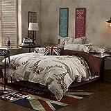 GAW Hogar Moda Algodón 3 piezas de ropa de cama, edredón completo/Reina,Funda nórdica(150*200cm*1),Hoja(160*230 cm*1),Funda de almohada(48*74cm*1)