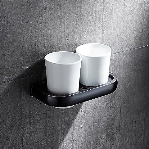 distributeurs de supports et le Cuivre Noir Couple rétro Coupe de rinçage kit de support pour brosse et salle de bain, Bluetooth Porte-gobelet Hôtel Noir ancien double