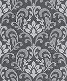Rasch Papiertapete in schwarz grau silber Ornament 316735