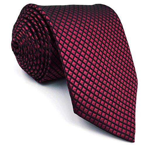 Shlax&Wing Hochzeit Neu Herren Seide Krawatte Rot Einfarbig Extra lang 63