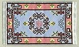 Miniatur Teppich, reines Polyester für Krippe, Puppenhaus, Ornament blau/rosa.