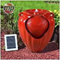 MP Essential Garden Outdoors Solar Ceramic Pot Urn Terracotta Water Fountain Feature
