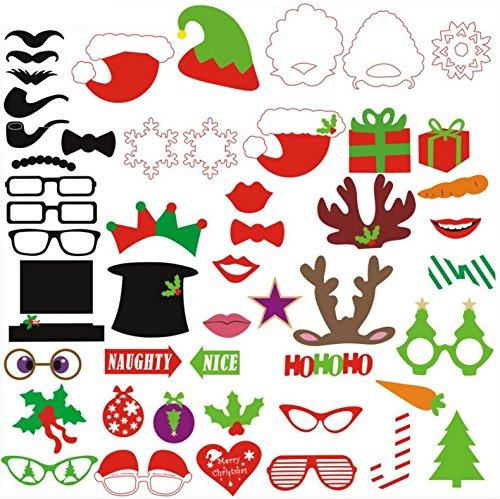 Weihnachtliches Photo Booth, Konsait Fotorequisiten Fotoaccessoires Photo Booth Props Set am Stiel mit Schnurrbart, Maske, Brille, Hüten für Erwachsene Kinder Weihnachts Party Verkleidung Mitbringsel (50 Pcs)