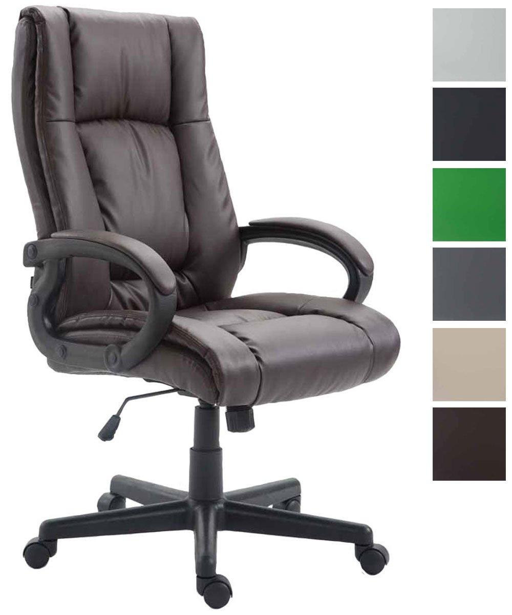 CLP Silla de oficina XL Sparta con tapas de piel sintética, silla de oficina con construido en mecanismo de inclinación, silla giratoria con la exclusiva upholstery. máx. capacidad 140kg de peso.
