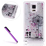 Samsung Galaxy Note 4 Hülle,EMAXELERS Glitter flüssigkeit Schwimmende Veränderung farbe Pailletten Bling Weiter Schwer Hülle Cover Case for für Samsung Galaxy Note 4 + Send 1 Stylus Pen Silver Liquid-Lover Dandelions