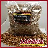 Sahawa® Mehlwürmer getrocknet - 1kg - Insekten Snack für Hühner, Igel, Hamster und Reptilien - Ganzjahresfutter für Wildvögel - Reines Naturprodukt ohne Zusatzstoffe - Das Perfekte Leckerli + gratis Geschenk (Überraschung)