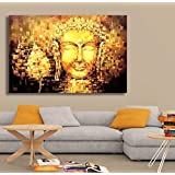 PPD Lord Buddha Canvas Paintings | The Golden Buddha | Large Size Unframed Rolled Canvas Art Print For Home , Living Room & Office Decor (32 Inch X 48 Inch)