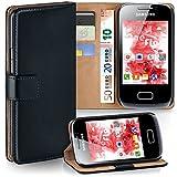 Bolso OneFlow para funda Samsung Galaxy Mini 2 Cubierta con tarjetero | Estuche Flip Case Funda móvil plegable | Bolso móvil funda protectora accesorios móvil protección paragolpes en Nero