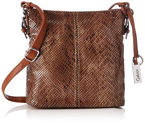Gabor Handtasche Damen Pippa, Umhängetasche, Tasche Snake, Braun (Cognac), 10x25x25 cm
