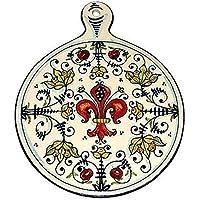 CERAMICHE D'ARTE PARRINI- Ceramica italiana artistica , sottopentola decorazione giglio