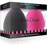EmaxDesign 2 pièces Blender éponge de maquillage, fond de teint Blush Estompeur Correcteur Yeux Visage Poudre Crème Maquillage sponges. sans latex, hypoallergénique et sans odeur.