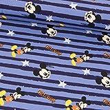 Stoffe Werning Baumwolljersey Mickey Mouse Streifen blau Kinderstoffe - Preis Gilt für 0,5 Meter