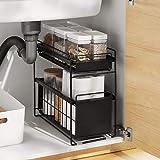 HUIJ sous évier étagère sous Evier Rack etagère de Rangement Cuisine Panier de Rangement Coulissant à 2 Niveaux pour Placard