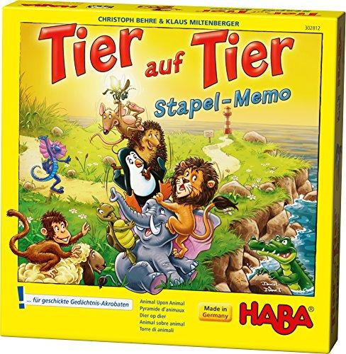 HABA 302812 - Tier auf Tier – Stapel-Memo | Kniffliges Bau- und Memospiel mit 19 Holzzylindern zum...