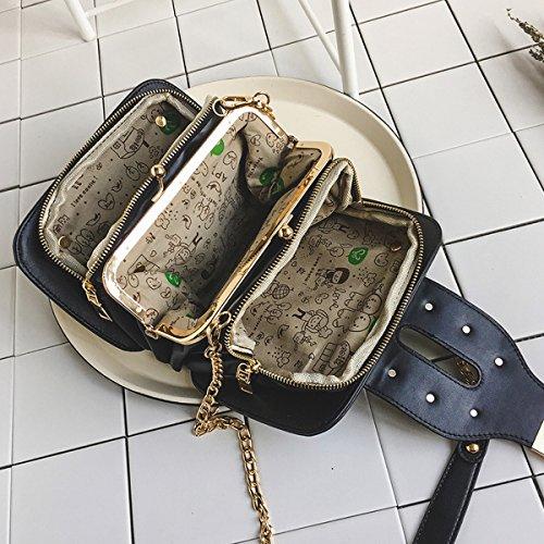 frauen arbeiten Liu nagel kleine quadratische tasche Drei schichten der Schulter tasche schultertasche einfache Kette diagonale paket Weiß